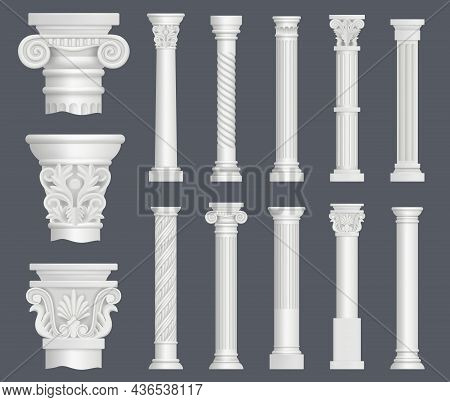 Antique Columns. Vintage Ancient Facade Decoration Renaissance Style Ornamental Pillars Architectura