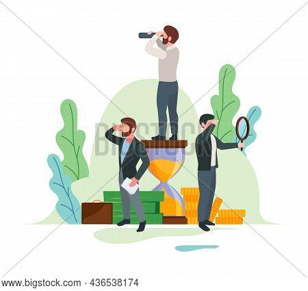 Exploring Business Characters. Successful Person Outdoor Exploration Watching In Telescope Or Binocu