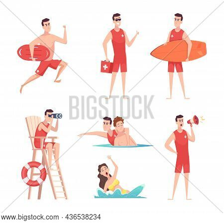 Lifeguard At Beach. Summer Vacation Safety On The Sea Kids Enjoying In Water Recreational Time Peopl