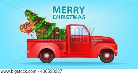 Christmas Holiday Red Car Illustration, Vector X-mas Retro Truck Postcard, Decorated Pine Tree Signb