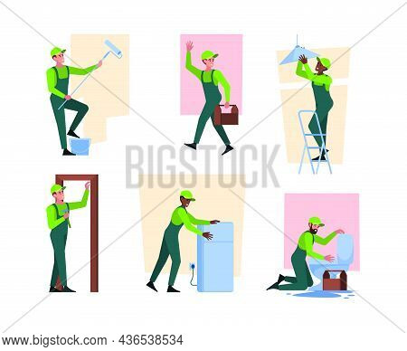 House Workers. Home Repair Services Construction Renovation Wall Plumbers Painter Workers Craftsman
