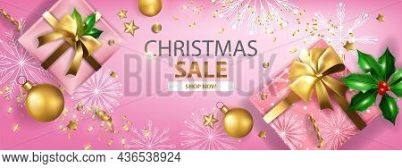 Christmas Sale Holiday Banner, Vector X-mas Discount Promotion Background, Gift Box Golden Ball. Win