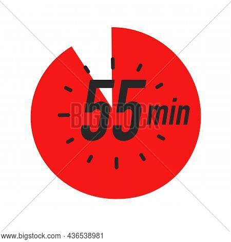 55 Minutes Timer Symbol Red Color Style Isolated On White Background. Clock, Stopwatch, Cooking Time