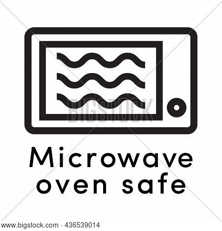 Microwave Oven Safe Icon Vector Line Style With Dish Information Sign For Cooking, Suitability Of Pl