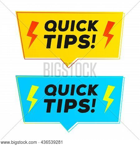 Quick Tips Vector Sticker Set Modern Style For Tooltip Badge, Solution And Advice Banner, Helpful Tr