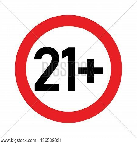 21 Plus Sign. Twenty One. For Adults Only. Age Restrictions, Censorship. Icon For Content, Movies, A