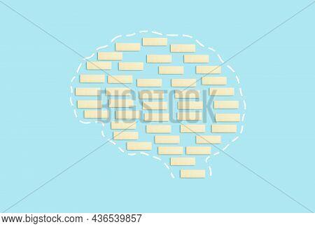 Brain From Blocks On A Pure Blue Background. Consciousness, Thinking, Dementia, Alzheimer, Brain Hea