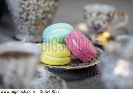 Traditional Table With Cup Of Tea And Tea Pot And Colorful Macaron Lovely Cozy Table At Home,mother'