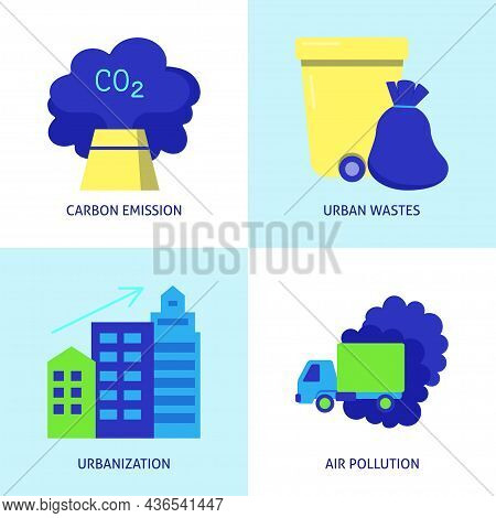 Flat Icon Set - Causes Of Climate Change