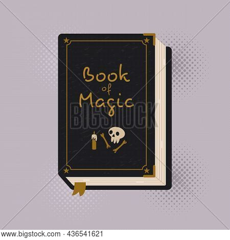 Witch Spell Book. Astrology Symbol. Mystical Alchemy Recipes.vector Illustration