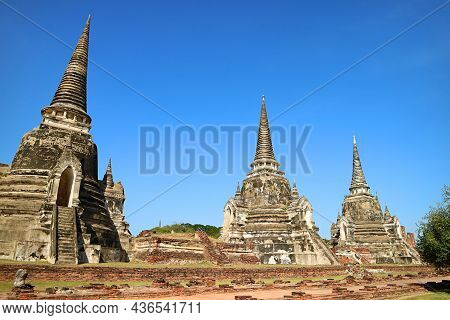 Amazing Remains Of Medieval Wat Phra Si Sanphet Temple, Unesco World Heritage Site In Ayutthaya, Tha