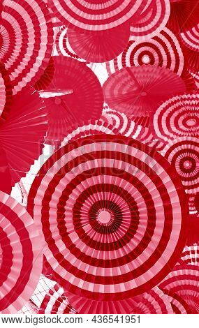 Red And Pink Pleated Paper Decorative Art For Abstract Background