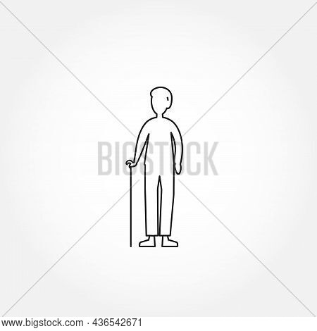 Old Man Line Icon. Grandfather Isolated Line Icon
