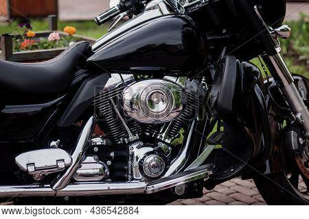 Minsk, Belarus, October 2021 -  Motorcycle Harley Davidson. Motorcycle Tank.