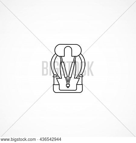 Car Seat With Sports Seat Belts Flask Line Icon. Car Seat Isolated Line Icon