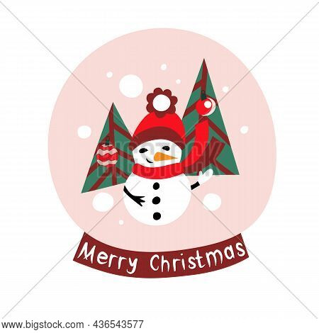Colorful Snow Globe With Text Merry Christmas, Snowman And Christmas Trees. Bright Vector Decor For