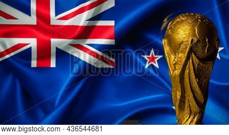 October 6, 2021, Auckland, New Zealand. Fifa World Cup Against The Background Of The Flag Of New Zea