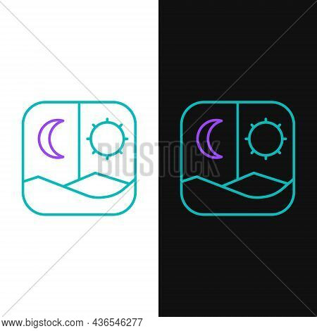 Line Ramadan Fasting Icon Isolated On White And Black Background. Fast Day And Night. Religious Fast