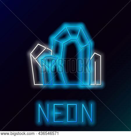 Glowing Neon Line Gem Stone Icon Isolated On Black Background. Jewelry Symbol. Diamond. Colorful Out