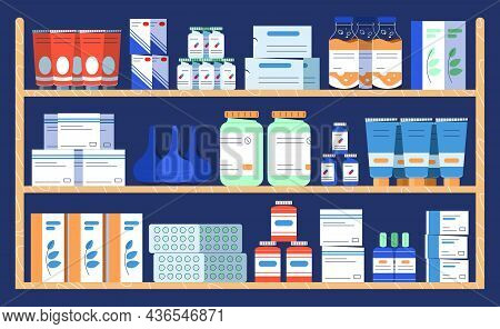 Flat Drug Shelves In Pharmacy Shop. Medicine Bottle With Pills And Liquid, Capsules, Vitamins, Table