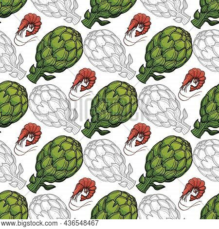 Vector Pattern Ofartichokes And Shrimps On A White Background With Outline.
