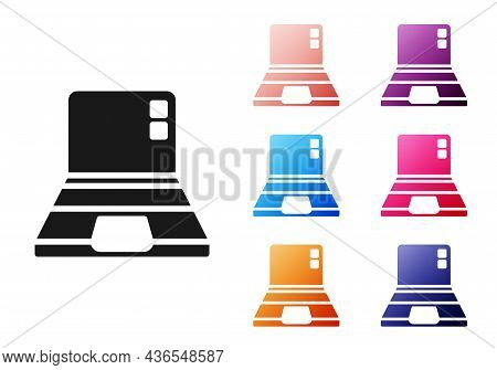 Black Laptop Icon Isolated On White Background. Computer Notebook With Empty Screen Sign. Set Icons