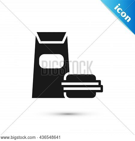 Grey Burger Icon Isolated On White Background. Hamburger Icon. Cheeseburger Sandwich Sign. Fast Food