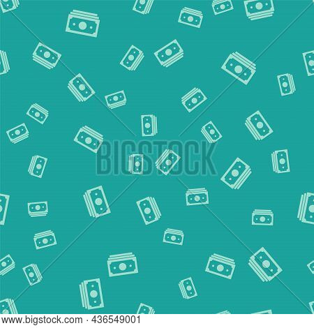 Green Stacks Paper Money Cash Icon Isolated Seamless Pattern On Green Background. Money Banknotes St