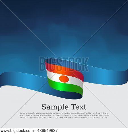 Niger Flag Background. National Nigerian Patriotic Banner, Poster. Business Booklet. Niger Flag Wavy