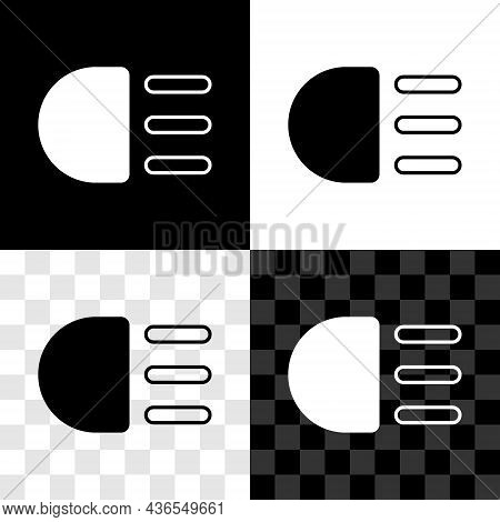 Set High Beam Icon Isolated On Black And White, Transparent Background. Car Headlight. Vector