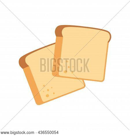 Two Toast Bread Slices, Isolated On White. Whole Wheat Bread. Vector Illustration