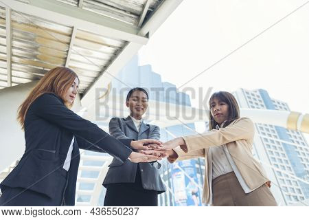 Woman Partners Hands Together Teamwork Group Of Business People Meeting In Modern City Outdoor. Fema