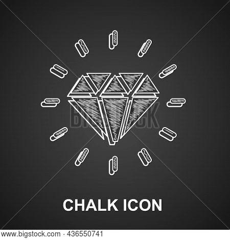 Chalk Diamond Icon Isolated On Black Background. Jewelry Symbol. Gem Stone. Vector