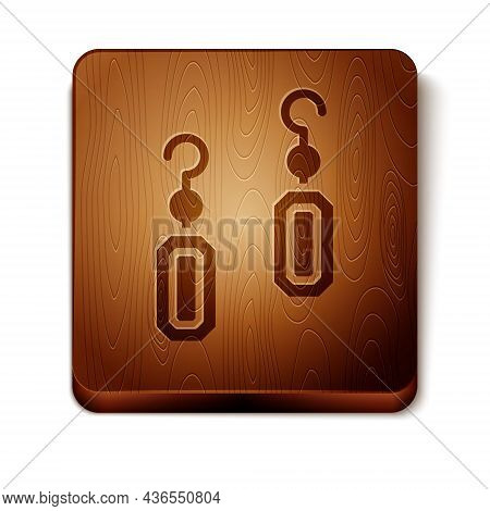 Brown Earrings Icon Isolated On White Background. Jewelry Accessories. Wooden Square Button. Vector