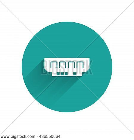White Ram, Random Access Memory Icon Isolated With Long Shadow Background. Green Circle Button. Vect