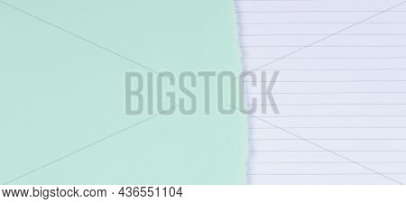 Torn Paper Textured Collage Background. Grunge Ripped Pastel Green Paper Piece With Ragged Edge And
