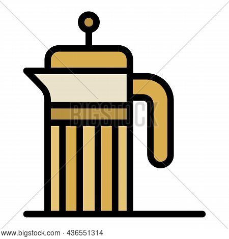 French Press Icon. Outline French Press Vector Icon Color Flat Isolated