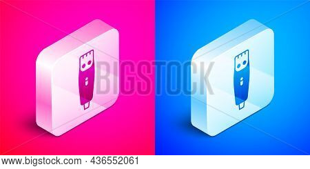 Isometric Electrical Hair Clipper Or Shaver Icon Isolated On Pink And Blue Background. Barbershop Sy