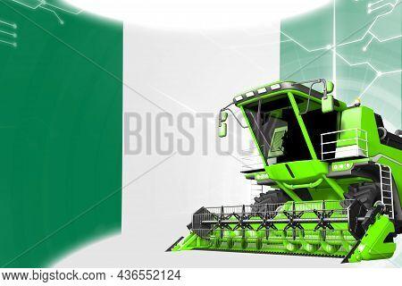 Agriculture Innovation Concept, Green Advanced Grain Combine Harvester On Nigeria Flag - Digital Ind