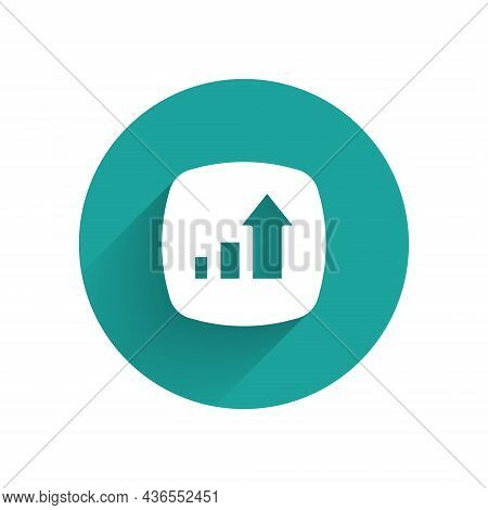 White Financial Growth Increase Icon Isolated With Long Shadow Background. Increasing Revenue. Green