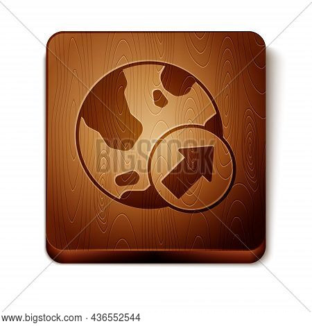 Brown Financial Growth Increase Icon Isolated On White Background. Increasing Revenue. Wooden Square
