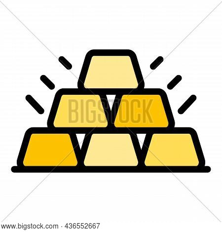 Six Gold Bars Icon. Outline Six Gold Bars Vector Icon Color Flat Isolated