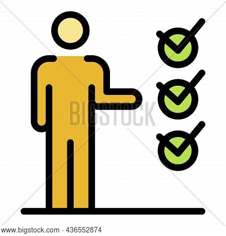 Man Points To Checkboxes Icon. Outline Man Points To Checkboxes Vector Icon Color Flat Isolated