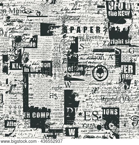 Abstract Seamless Pattern With Chaotic Layering Of Unreadable Newspaper Fragments And Handwritten Sc