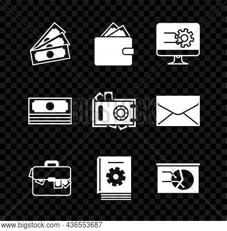 Set Stacks Paper Money Cash, Wallet With Stacks, Computer Monitor Graph Chart, Briefcase And, User M