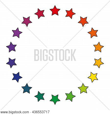Round Frame Of Eighteen Multicolored Stars, Rainbow Colors, Isolated On A White Background, Vector I