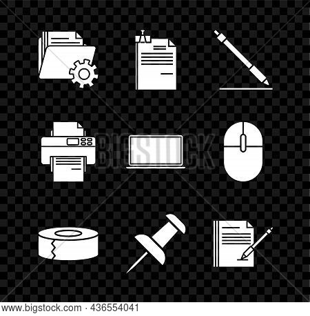 Set Folder Settings With Gears, File Document And Binder Clip, Pen Line, Scotch, Push Pin, Blank Not