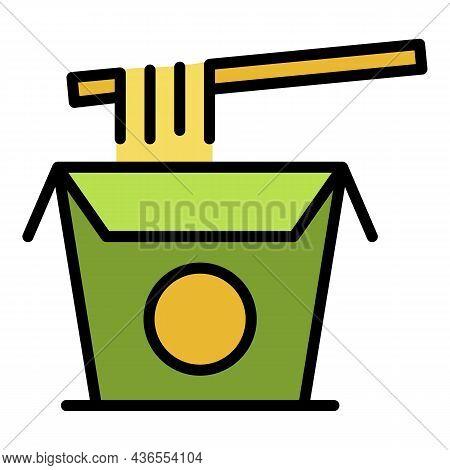 Cook Box Ramen Icon. Outline Cook Box Ramen Vector Icon Color Flat Isolated