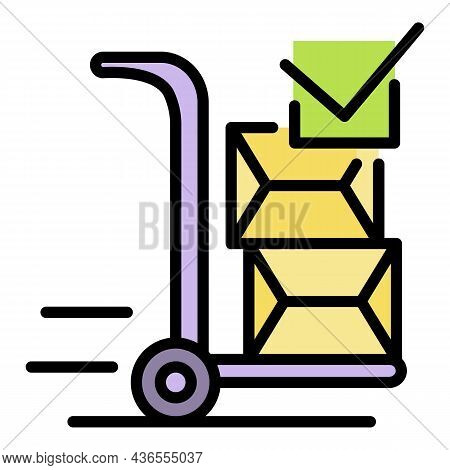 Warehouse Wheel Cart Icon. Outline Warehouse Wheel Cart Vector Icon Color Flat Isolated