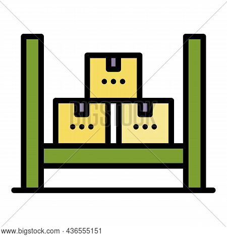 Logistic Parcel Stack Icon. Outline Logistic Parcel Stack Vector Icon Color Flat Isolated